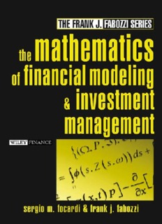 The Mathematics Of Financial Modeling And Investment Management